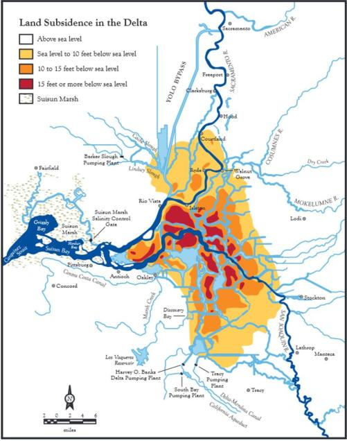 Land subsidence in the Sacramento-San Joaquin Delta. Yellow is 0-10 feet, orange is 10-15 feet, red is more than 15 feet. Image via http://www.ppic.org/content/pubs/report/R_207JLR.pdf